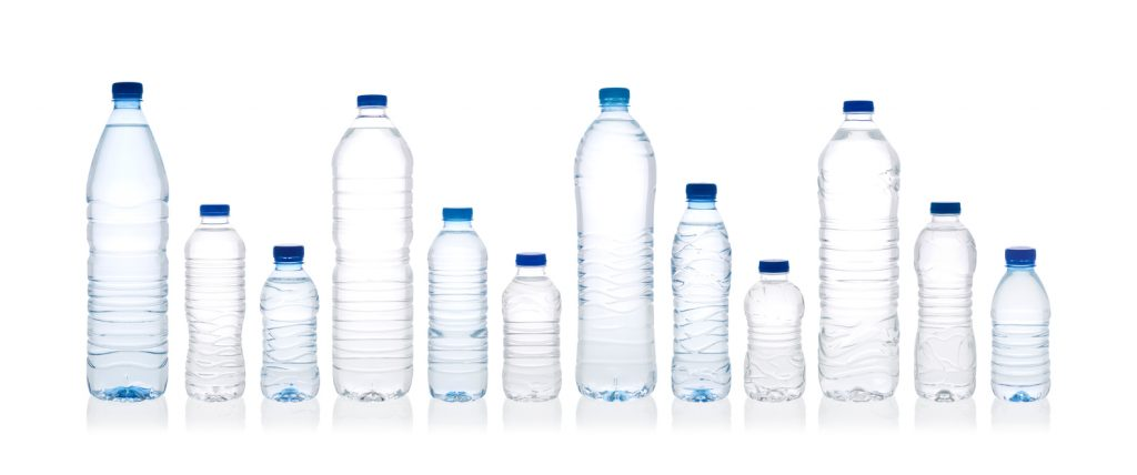 Bottles of water various sizes 1.5L, 1L, 500ml, 300ml. With clipping paths.