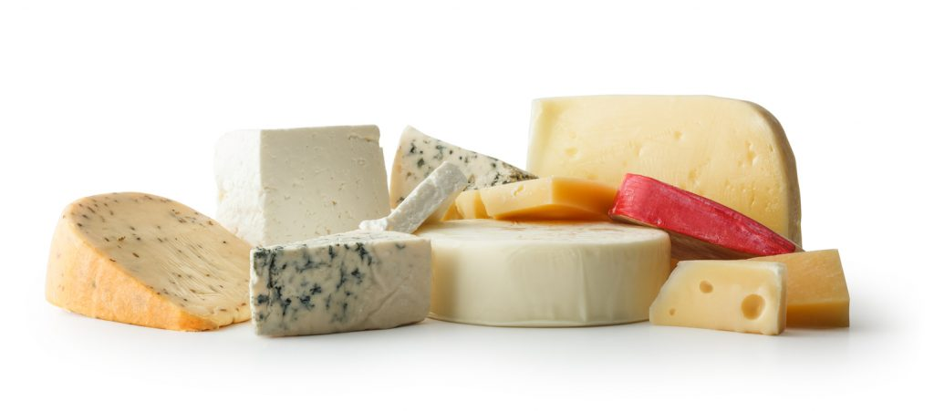 Cheeses, White Background, Clipping path