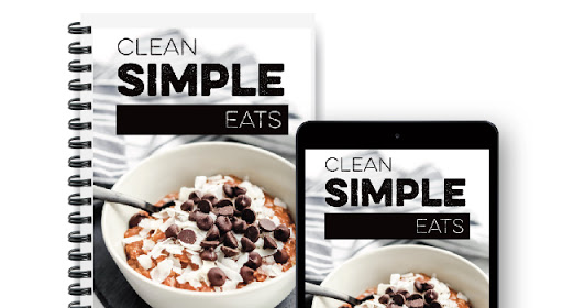 Mockup Photo of Clean Simple Eats logo and dessert image on notebook and iPhone