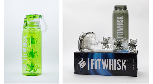 image collage: on left side a green water bottle; on right side a FitWhisk brand bottle and packaging