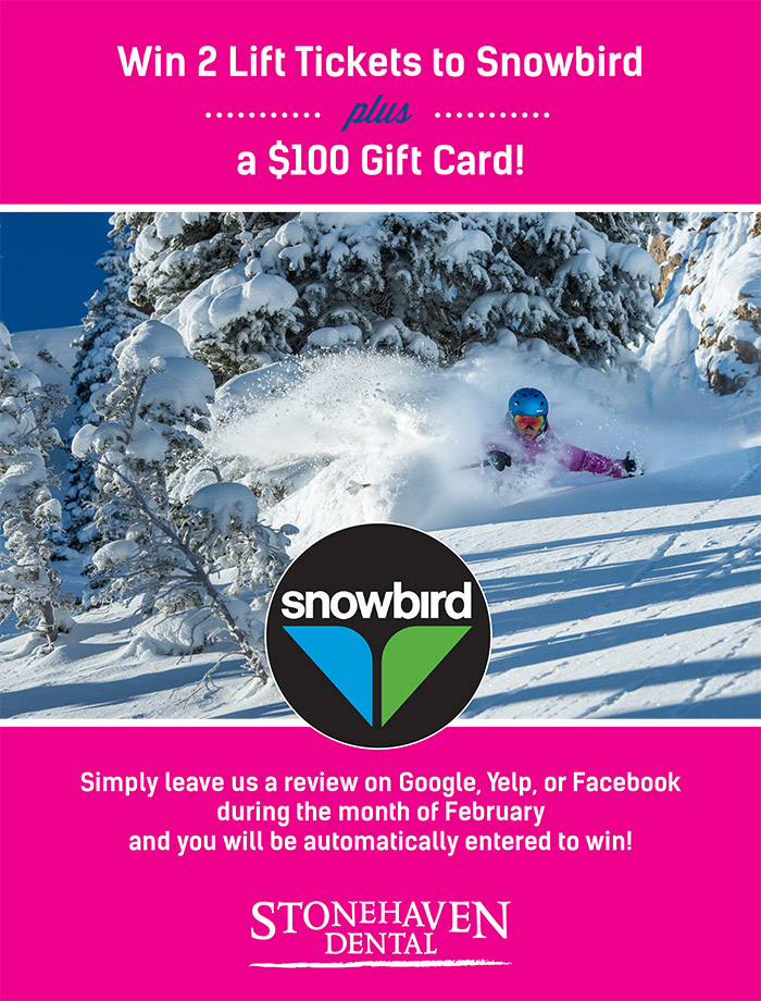 Win 2 Lift Tickets to Snowbird plus a $100 Gift Card - Simply leave us a review on Google, Yelp, or Facebook during the month of February and you will be automatically entered to win!